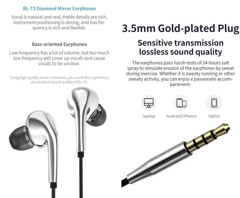 Blon T3 11mm Driver Earphones With Mic (2)