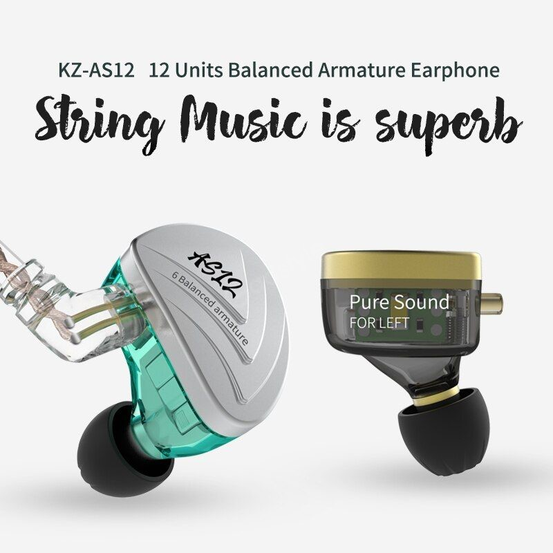 Kz As12 6ba Balanced Armatures In Ear Hifi Metal Earphones (2)