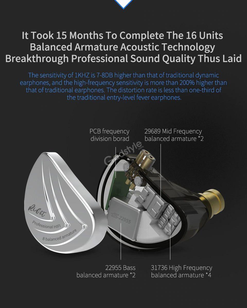 Kz As16 8ba Balanced Armatures Hifi Metal Earphones (7)