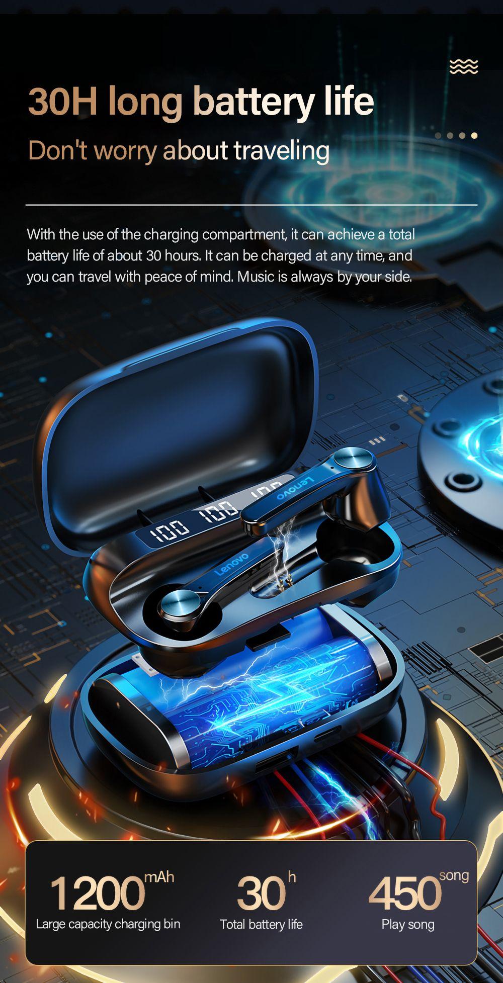 Lenovo Qt81 Tws Bluetooth 5 0 Earphone With Led Power Display (1)