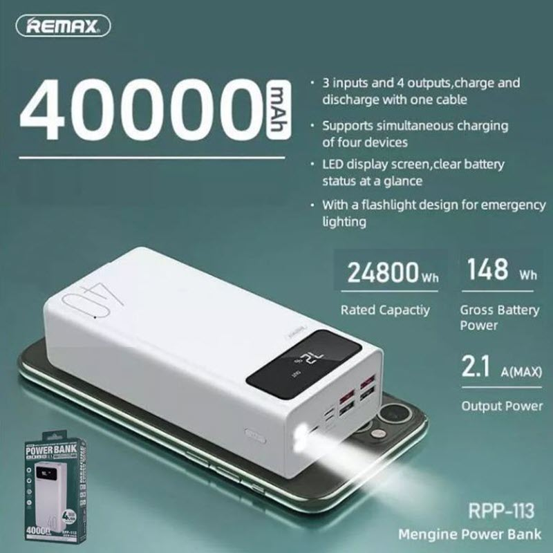 Remax RPP-113 40000mah Power Bank with 4 USB Output and 3 Input LED Display    GadStyle BD