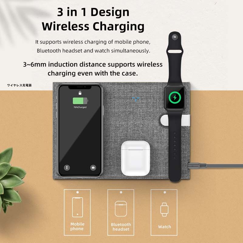 Rock 3in1 10w Fast Charging Foldable Pu Leather Wireless Charging Pad For Iphone Iwatch Airpods (3)
