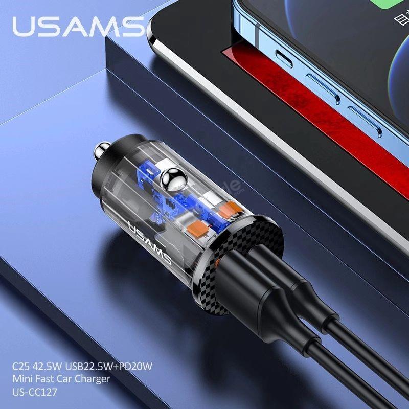 Usams 42 5w Usb 22 5wpd 20w Mini Fast Car Charger (4)