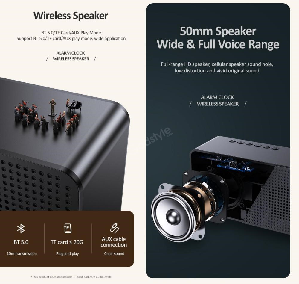Usams Us Yx007 Multi Functional Alarm Clock Wireless Speaker (3)