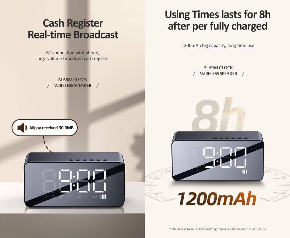 Usams Us Yx007 Multi Functional Alarm Clock Wireless Speaker (4)