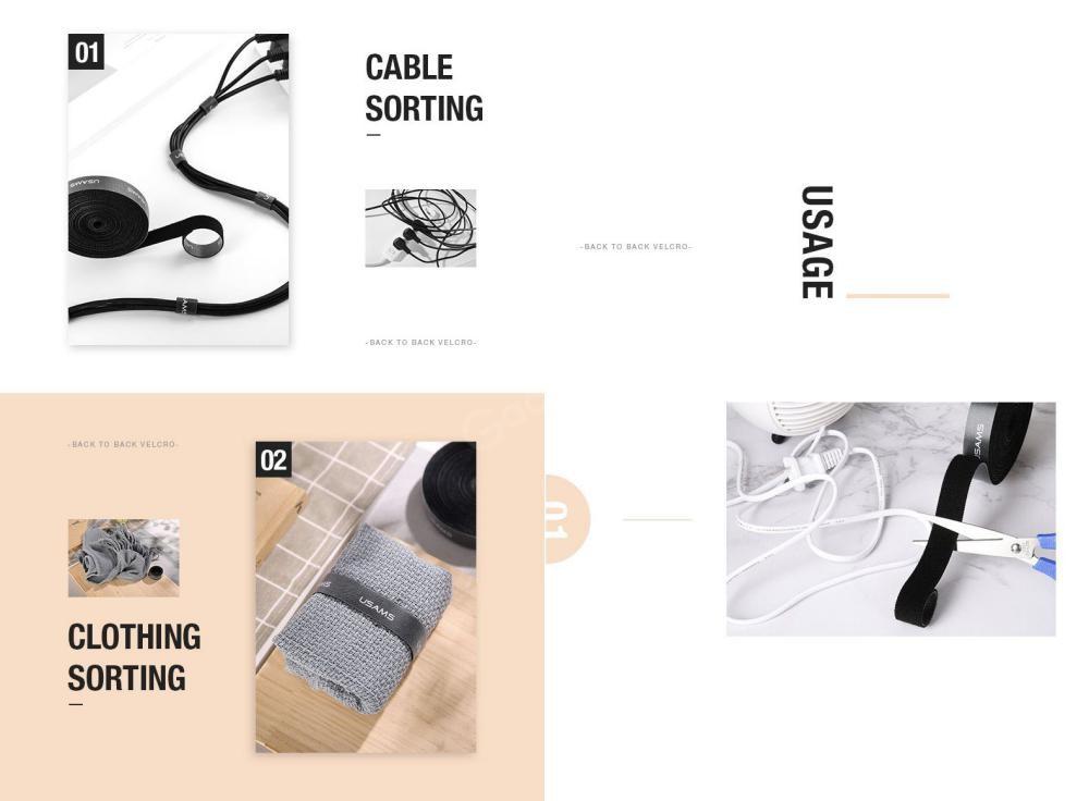 Usams Us Zb060 Magic Sticker Fastener Tape Nylon Cable Organizer (4)