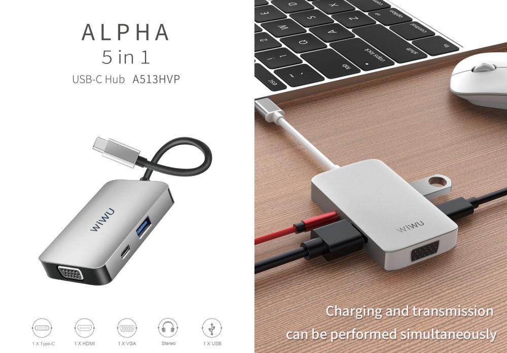 Wiwu A513hvp Alpha 5 In 1 Usb C Data Hub Adapter (1)