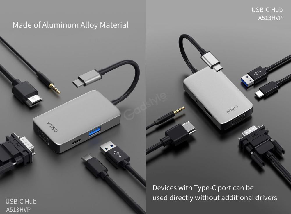 Wiwu A513hvp Alpha 5 In 1 Usb C Data Hub Adapter (5)