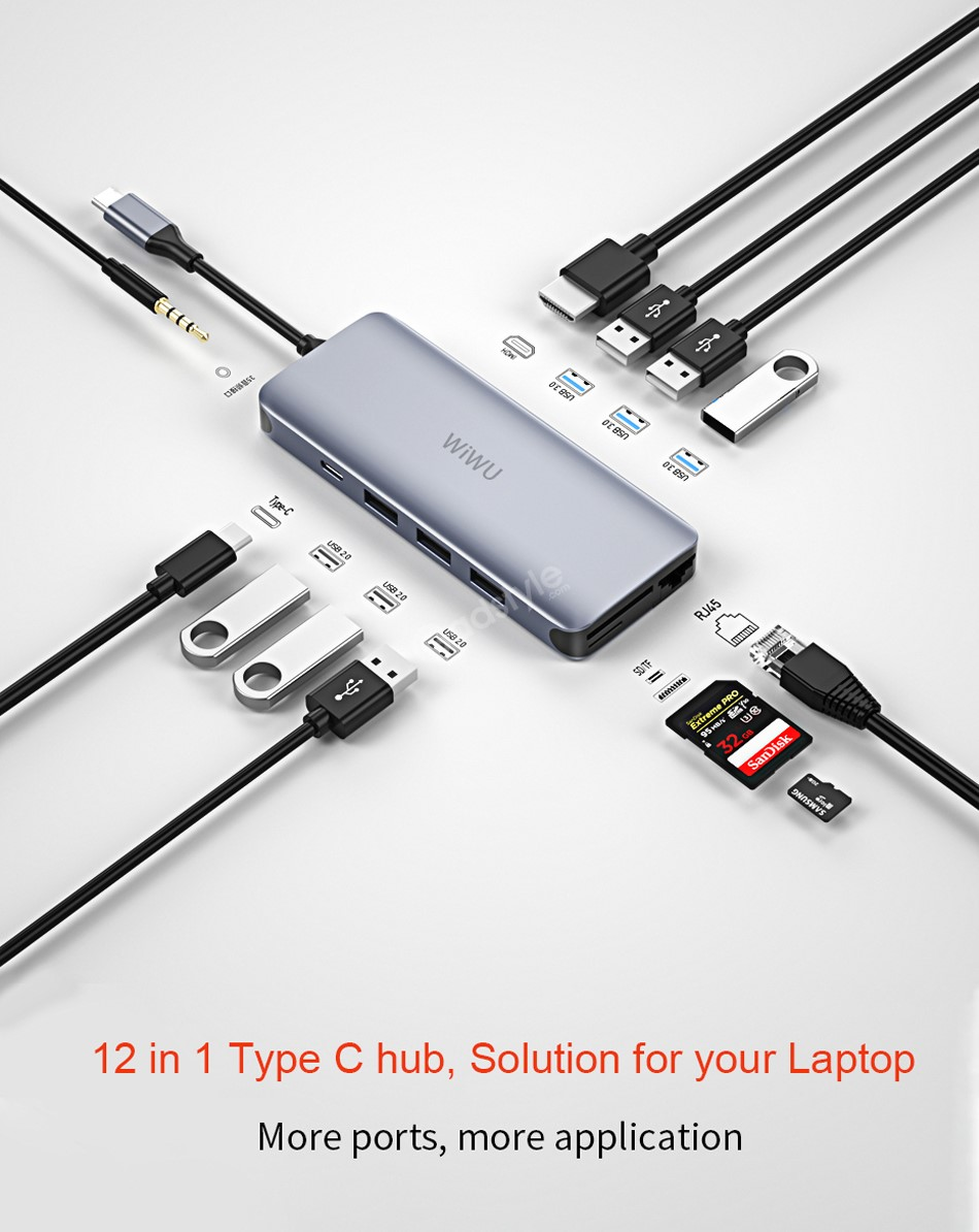 Wiwu Alpha 12 In 1 Type C Hub Multiple Function Adapter (1)