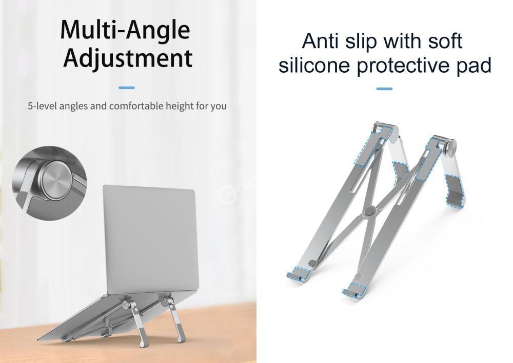 Wiwu S600 Aluminum Alloy Foldable Desktop Mount Laptop Tablet Bracket Stand (1)