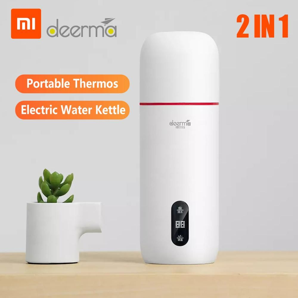 Xiaomi Deerma Electric Hot Water 350ml Stainless Steel Thermos Stew Kettle Cup