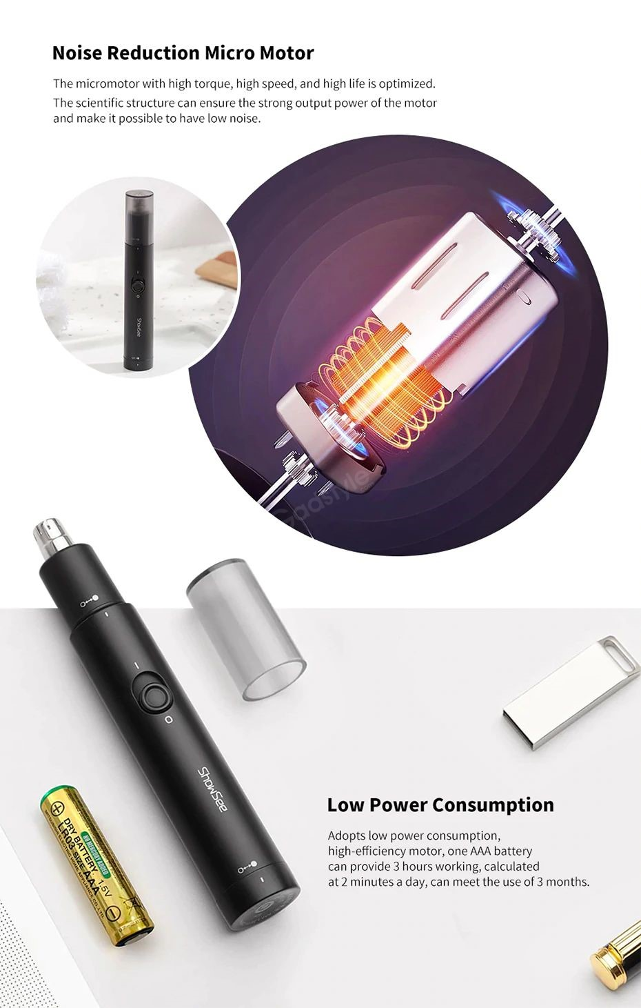Xiaomi Showsee C1 Electric Mini Nose Hair Trimmer (2)
