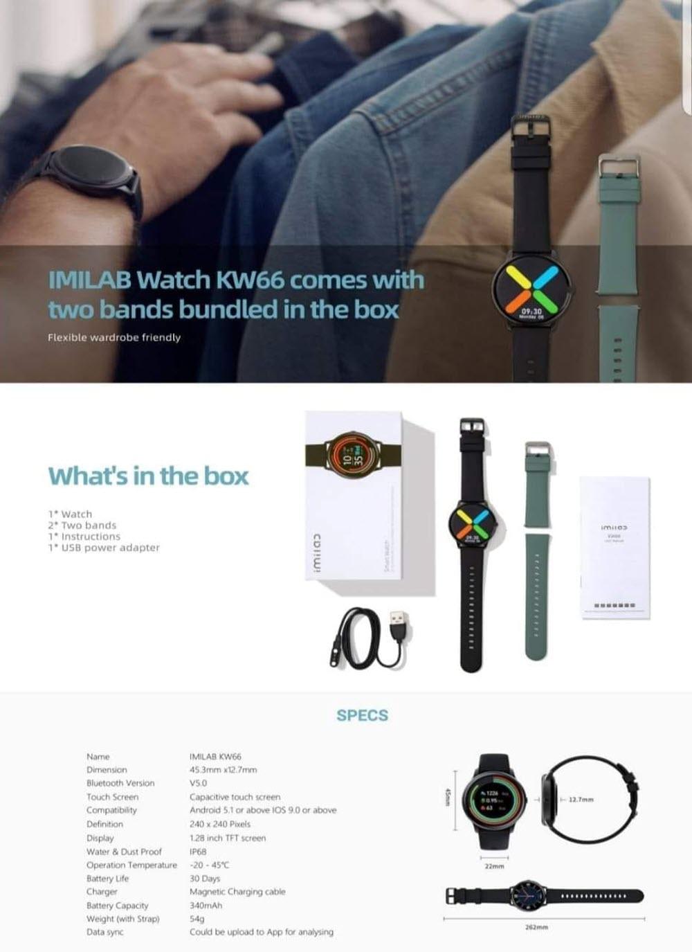 Xiaomi Smart Watch Imilab Kw66 Dual Strap