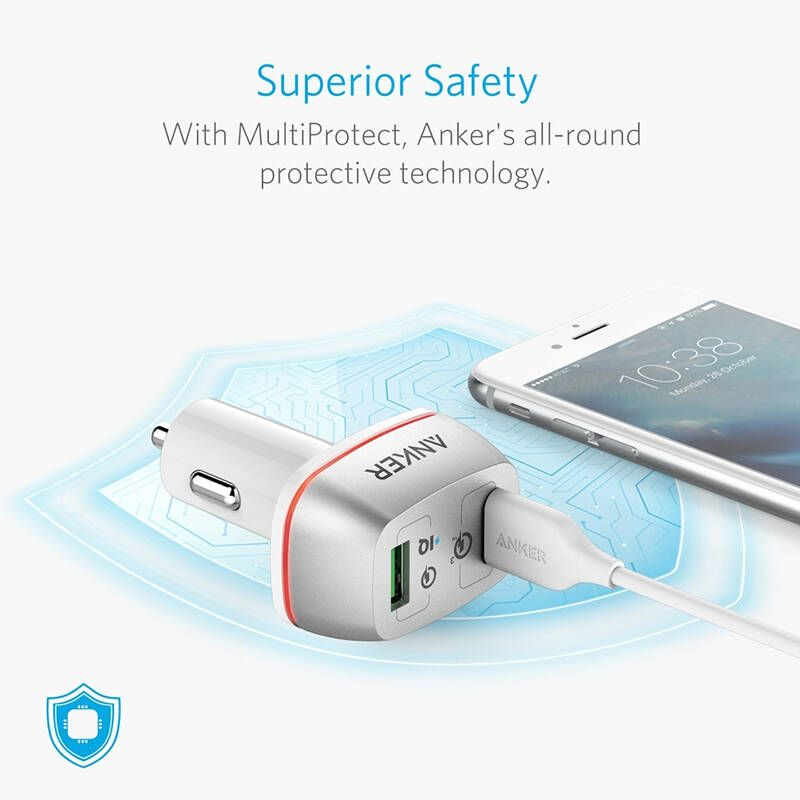 Anker Powerdrive 2 Port 42w With Quick Charge 3 0 Car Charger White (2)