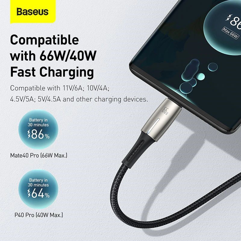 Baseus 66w 6a Usb Type C Cable For Huawei Mate 40 Pro Plus Huawei P40 (2)