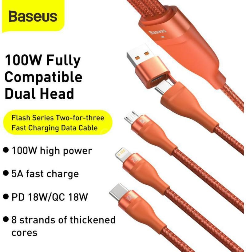 Baseus Flash Series Two For Three Fast Charging Data Cable 100w Orange (1)