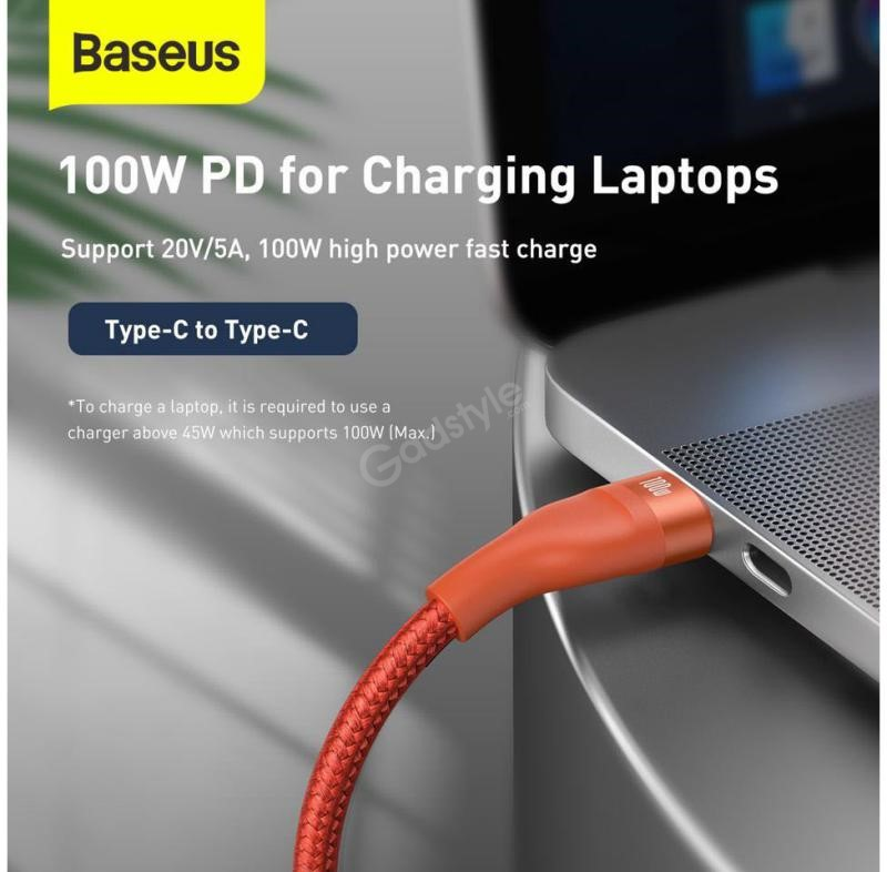 Baseus Flash Series Two For Three Fast Charging Data Cable 100w Orange (2)