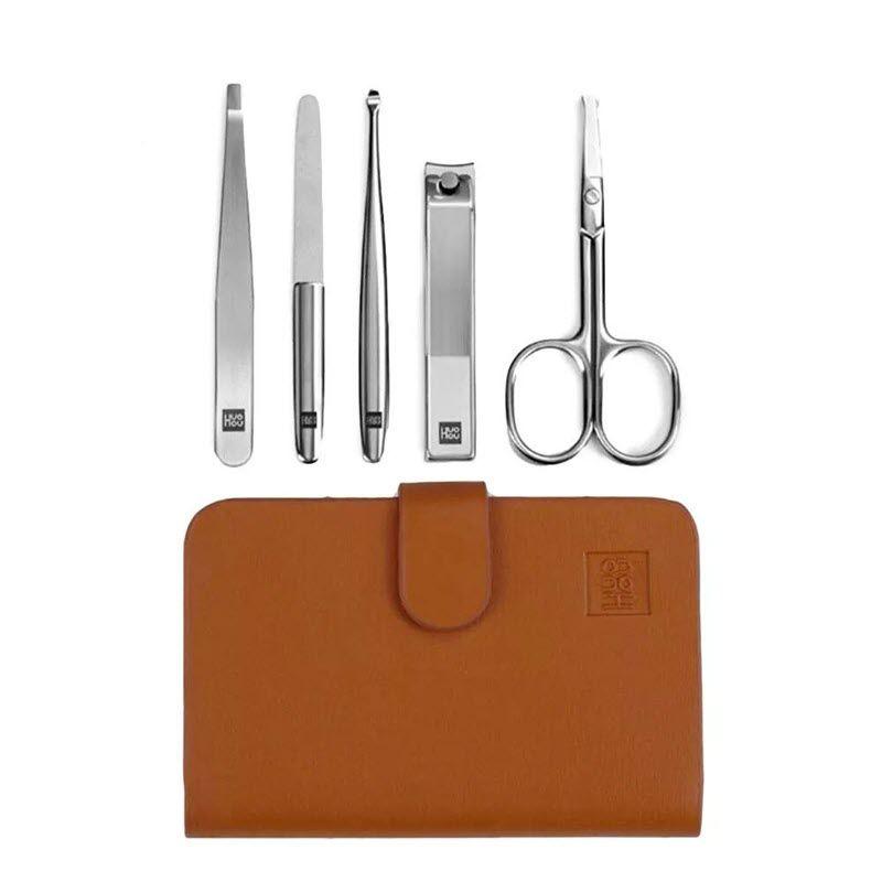 Huohou 5pcs Set Stainless Steel Nail Clipper Beauty Scissors Tweezer Curett