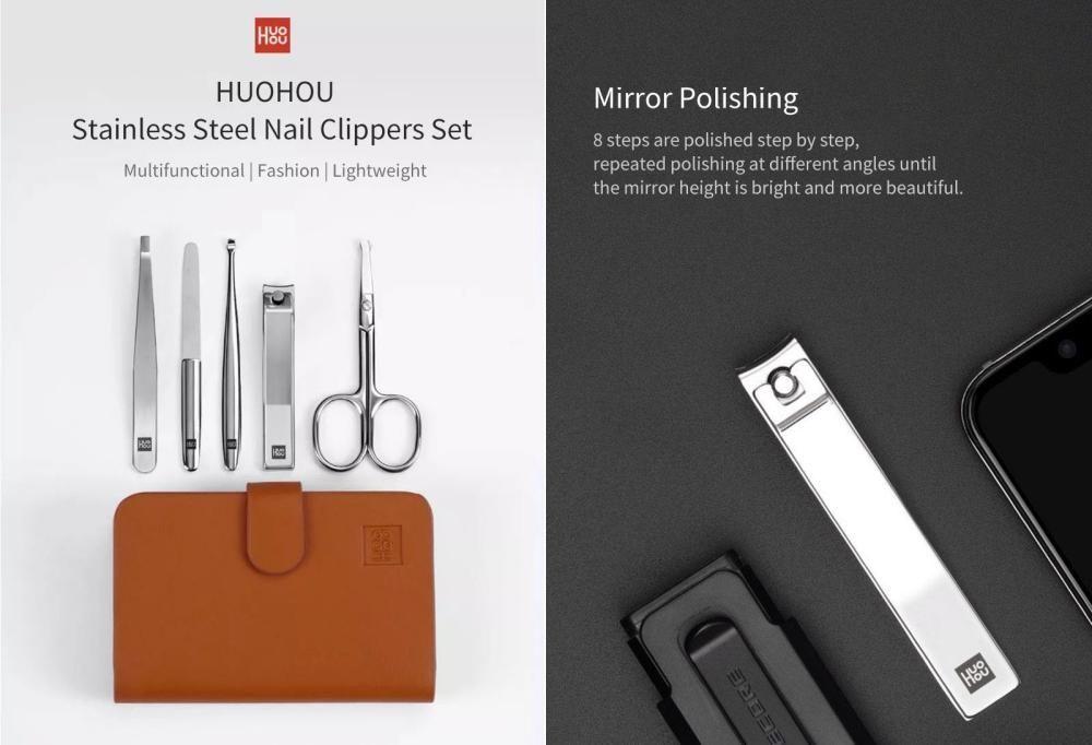 Huohou 5pcs Set Stainless Steel Nail Clipper Beauty Scissors Tweezer Curette (