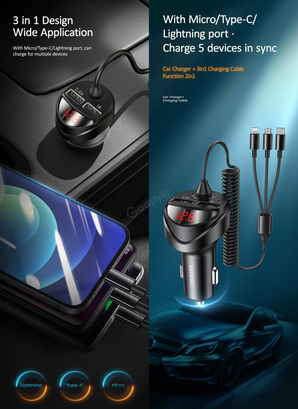 Usams Us Cc119 C22 3 4a Dual Usb Car Charger With 3in1 Spring Cable (6)