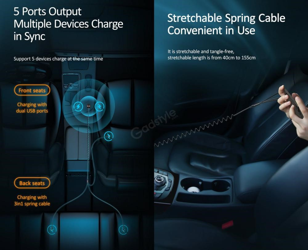 Usams Us Cc119 C22 3 4a Dual Usb Car Charger With 3in1 Spring Cable (7)