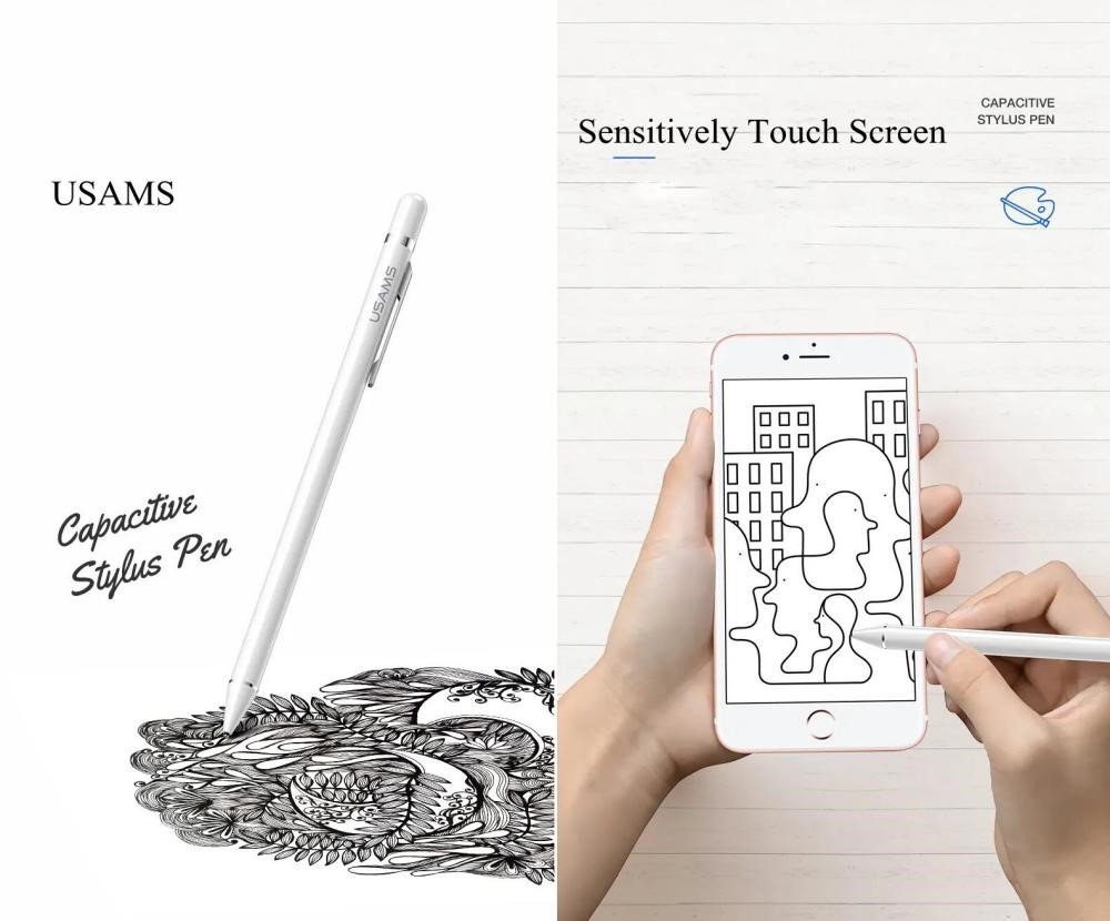 Usams Us Zb057 Active Touch Screen Capacitive Stylus Pen With Pen Clip (3)
