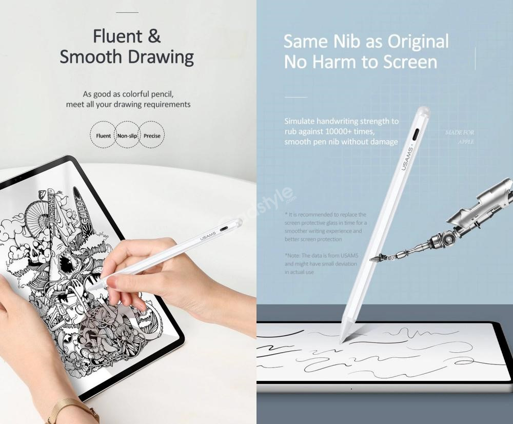 Usams Us Zb135 Palm Rejection Active Touch Capacitive Stylus Pen For 2018 2020 Apple Ipad