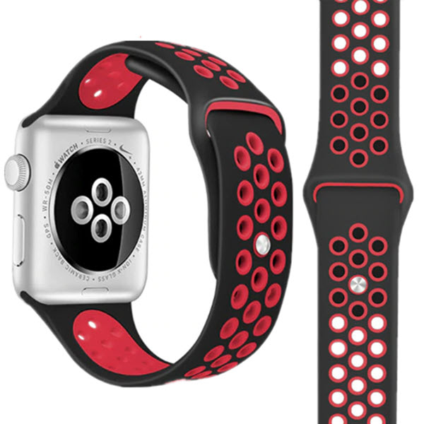 Wiwu Nike Edition Silicon Sports Band For Apple Watch Black Red (1)