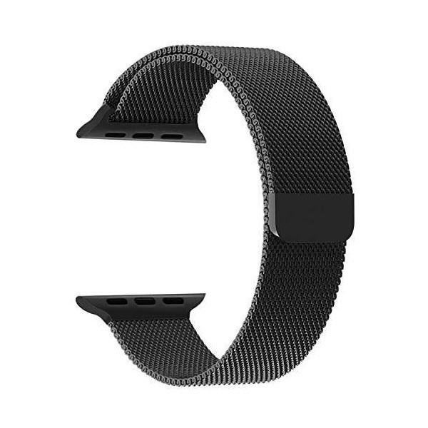 Wiwu Stainless Steel Magnetic Milanese Loop Band Strap For Apple Watch Black (1)