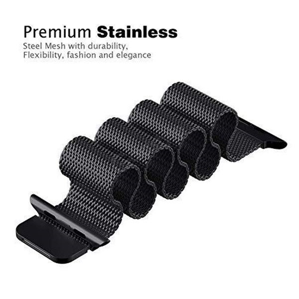 Wiwu Stainless Steel Magnetic Milanese Loop Band Strap For Apple Watch Black (3)