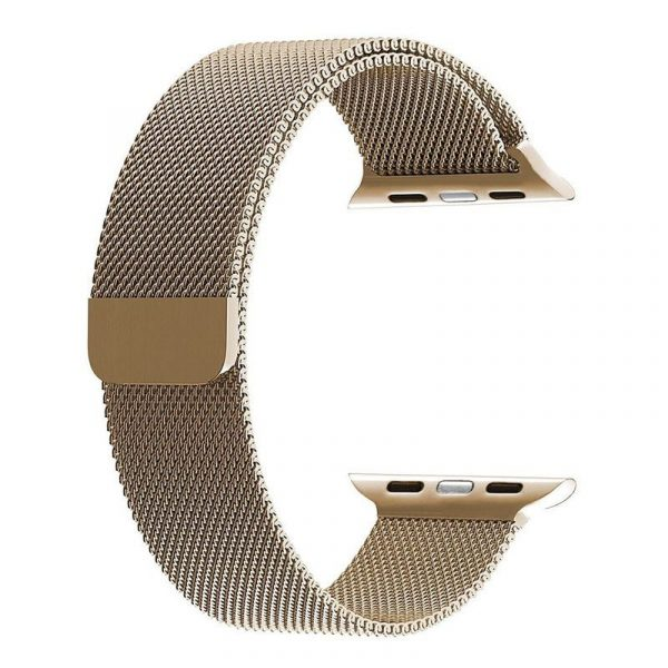 Wiwu Stainless Steel Magnetic Milanese Loop Band Strap For Apple Watch Gold (1)