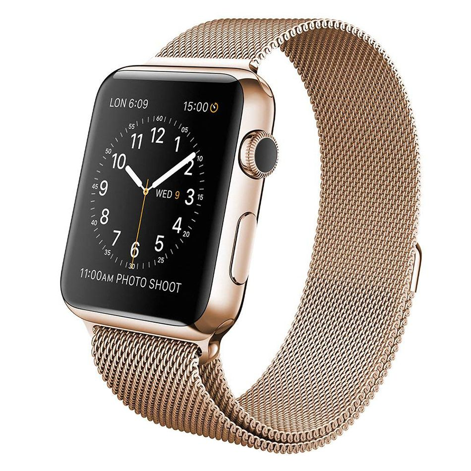 Wiwu Stainless Steel Magnetic Milanese Loop Band Strap For Apple Watch Gold (2)