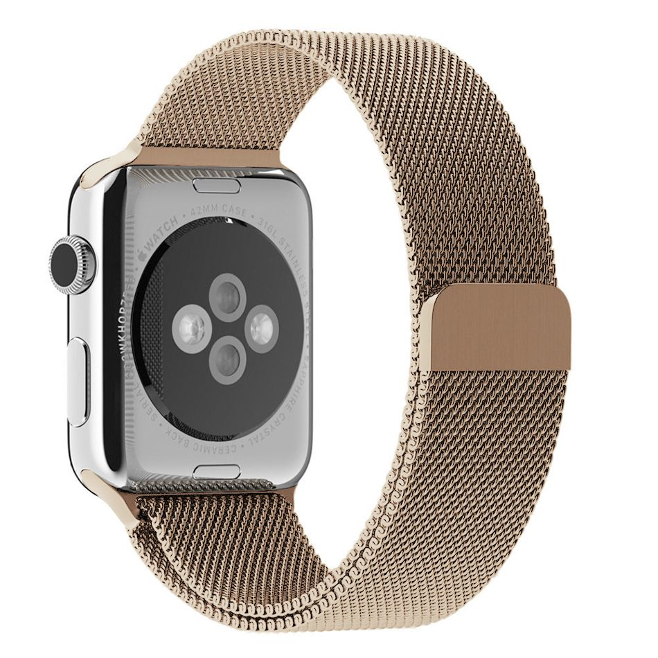 Wiwu Stainless Steel Magnetic Milanese Loop Band Strap For Apple Watch Gold (4)