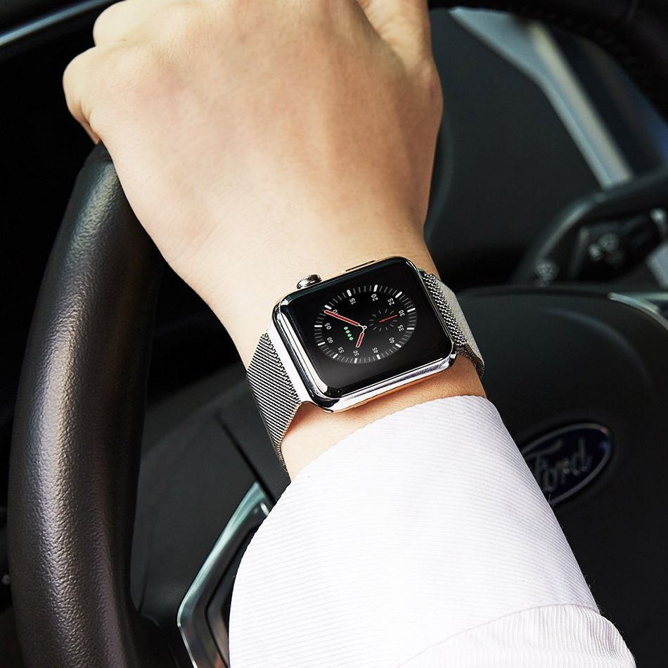 Wiwu Stainless Steel Magnetic Milanese Loop Band Strap For Apple Watch Silver (2)
