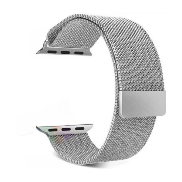 Wiwu Stainless Steel Magnetic Milanese Loop Band Strap For Apple Watch Silver (4)