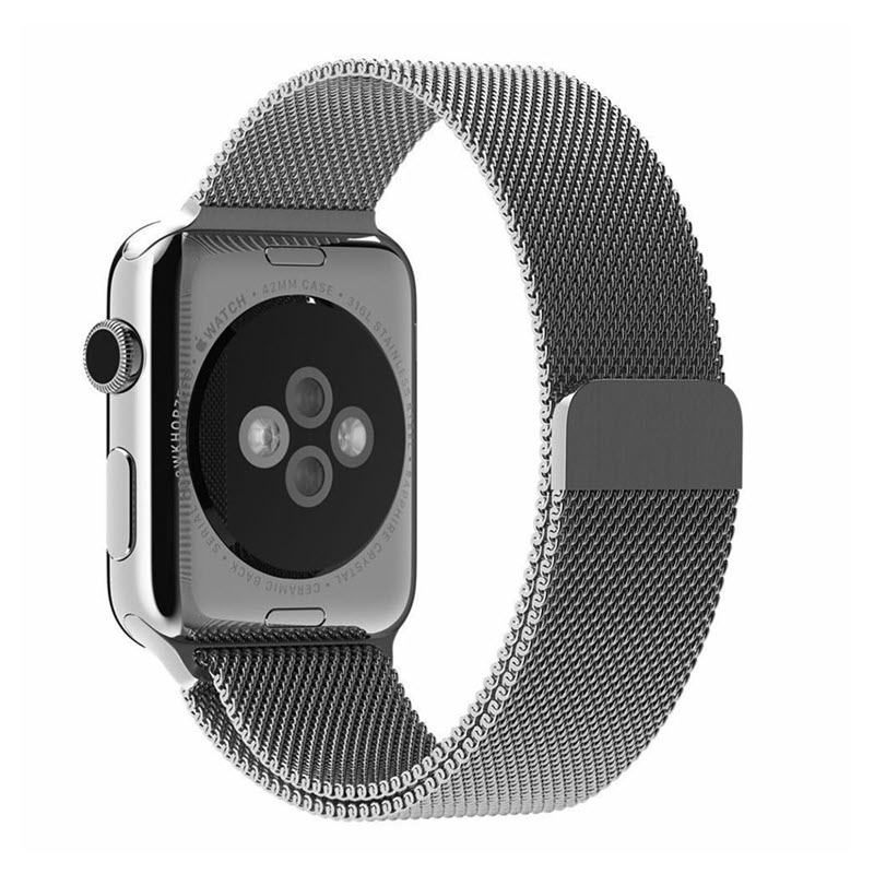 Wiwu Stainless Steel Magnetic Milanese Loop Band Strap For Apple Watch Silver (5)
