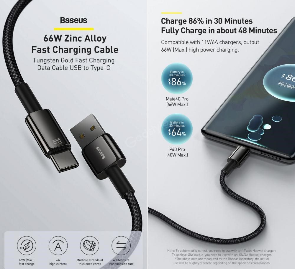 Baseus 66w Zinc Alloy Usb To Type C Tungsten Gold Fasting Charging Data Cable (6)
