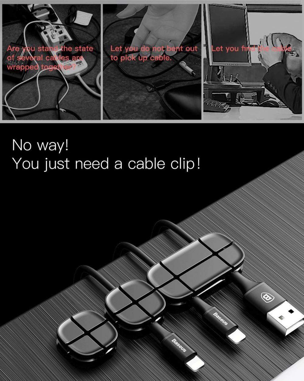 Baseus Cross Peas Cable Clips Flexible Silicone Desktop Sticker Earphone Cable Organiz (