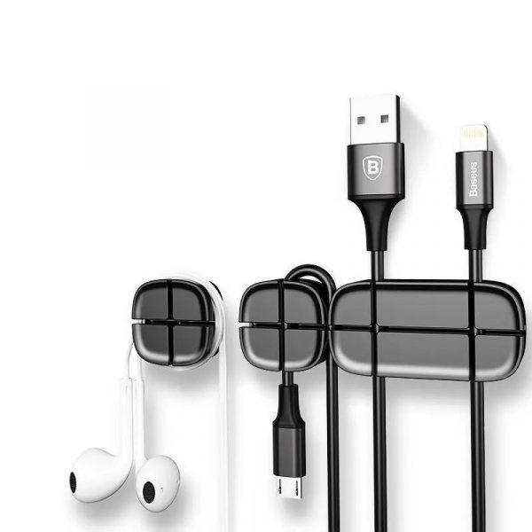 Baseus Cross Peas Cable Clips Flexible Silicone Desktop Sticker Earphone Cable Organiz (1)