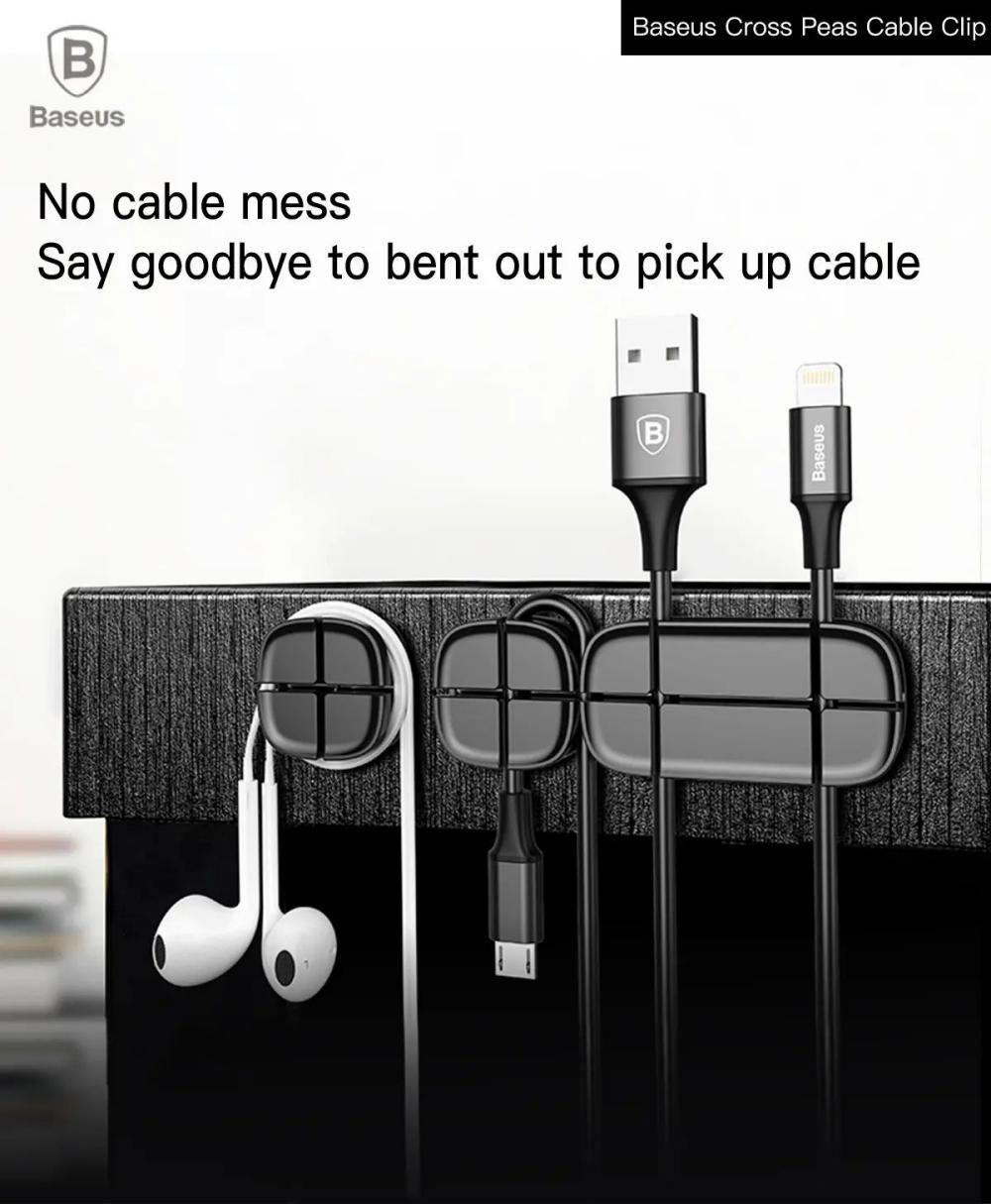 Baseus Cross Peas Cable Clips Flexible Silicone Desktop Sticker Earphone Cable Organiz ( (3)