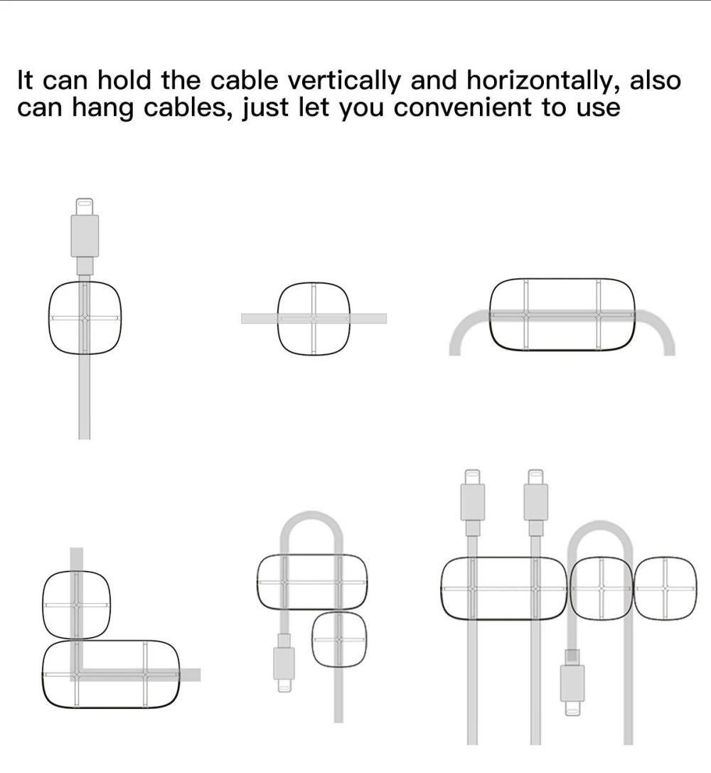 Baseus Cross Peas Cable Clips Flexible Silicone Desktop Sticker Earphone Cable Organiz ( (4)