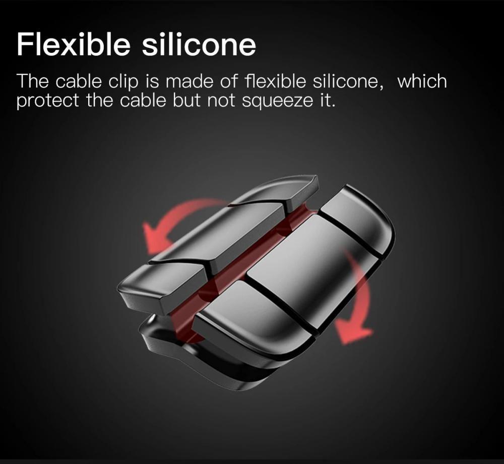 Baseus Cross Peas Cable Clips Flexible Silicone Desktop Sticker Earphone Cable Organiz ( (6)