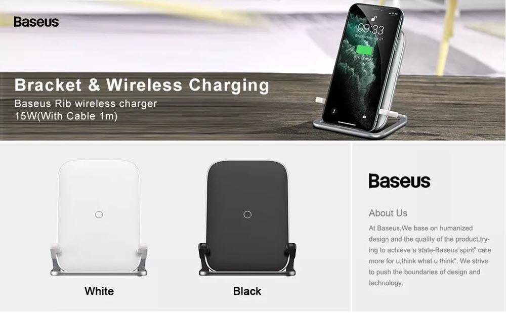 Baseus Rib 15w Wireless Charger Horizontal Vertical White (2)