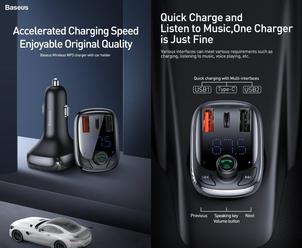 Baseus S 13 T Type Bluetooth Mp3 Car Charger Standard Edition (2)
