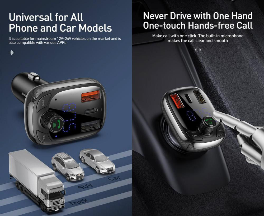 Baseus S 13 T Type Bluetooth Mp3 Car Charger Standard Edition (3)