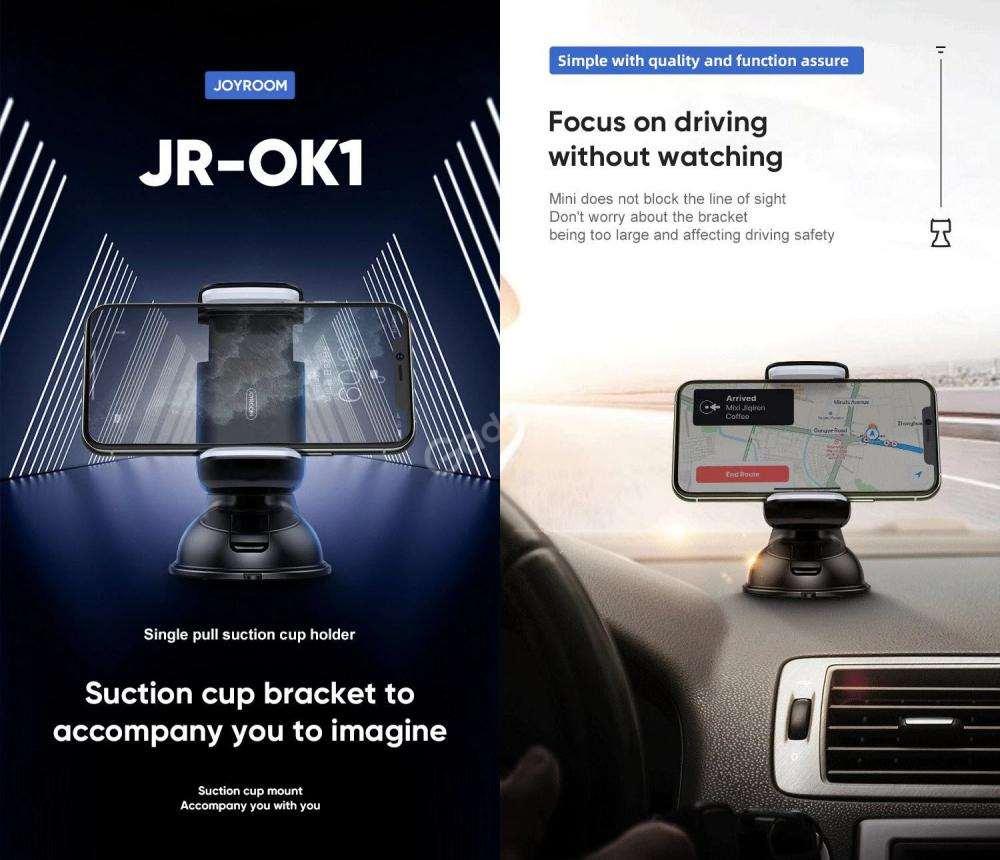 Joyroom Jr Ok1 Single Pull Suction Cup Mobile Phone Car Mount Holder (1)
