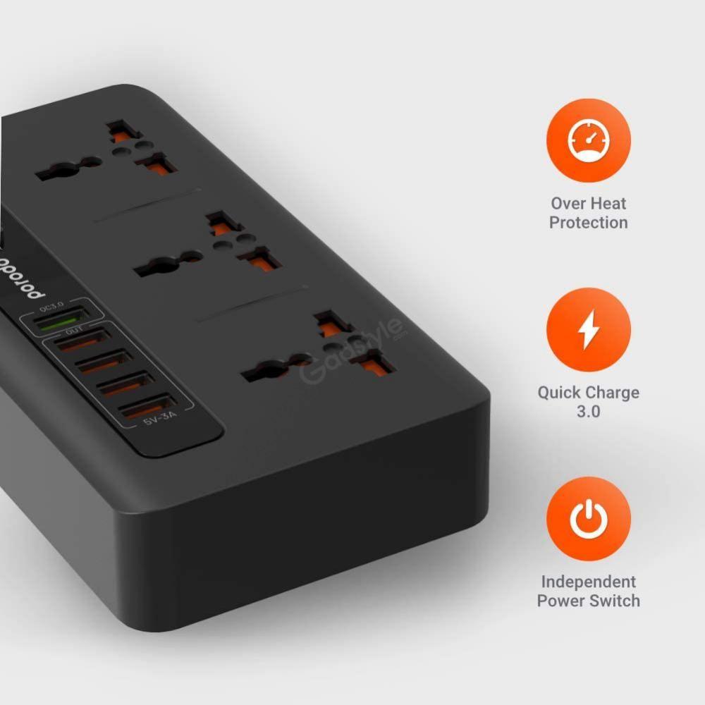 Porodo 33w Power Socket Strip 4 Usb Port Quick Charge 3 0 (3)