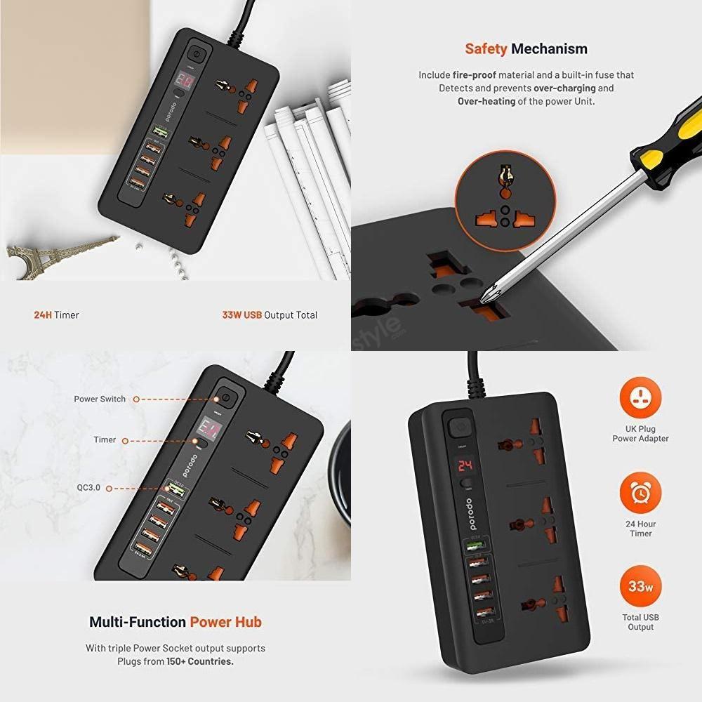 Porodo 33w Power Socket Strip 4 Usb Port Quick Charge 3 0 (4)