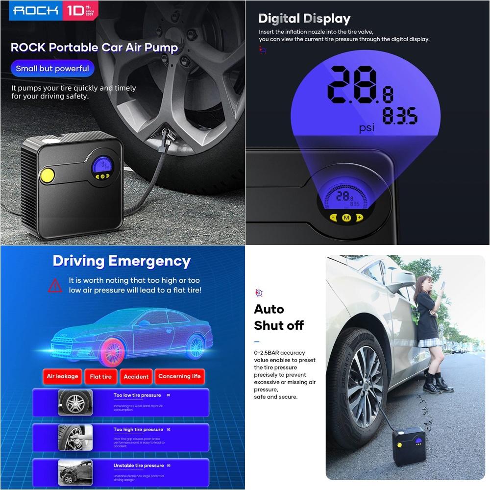 Rock Portable Inflator Pump Car Air Compressor Dc 12v (3)