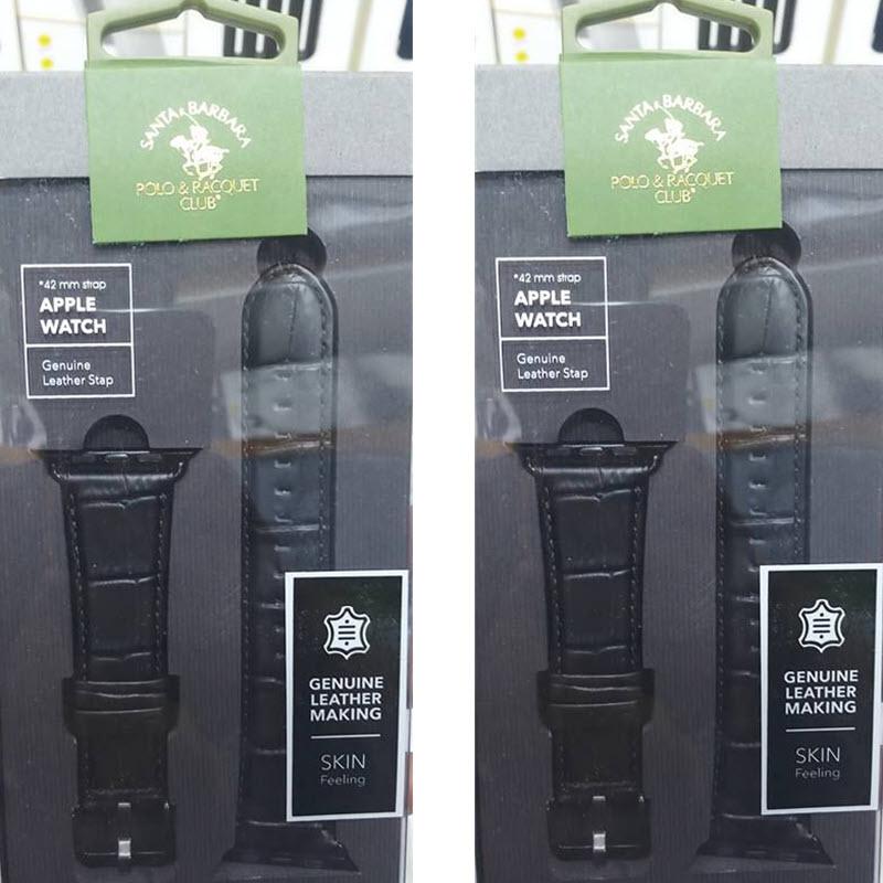 Santa Barbara Polo Racquet Genuine Leather Strap For Apple Watch 42 44mm Black (1)